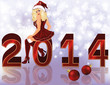 New 2014 Year background with sexy santa girl , vector