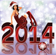 New 2014 Year card with sexy santa girl , vector illustration