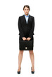 Full-length portrait of business woman keeping case