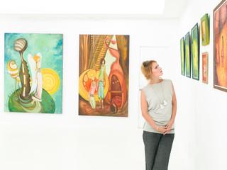 beautiful women at exhibition