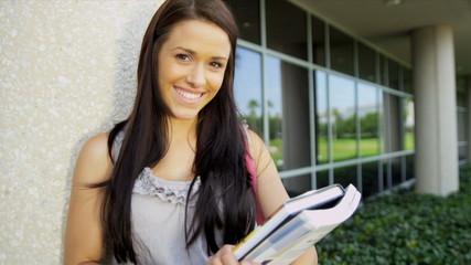 Young Female Caucasian Undergraduate College Campus