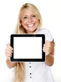 Woman presenting her tablet pc with copyspace