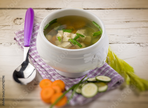 soupe with tofu and vegetables, selective focus