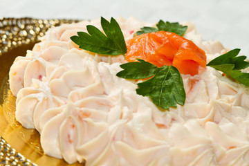 Creamy salmon mousse pie