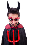 Man in devil costume in halloween concept