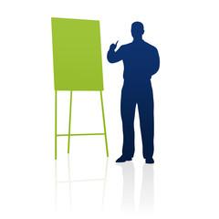 Geschäftsmann, Flipchart, Präsentation / Silhouette