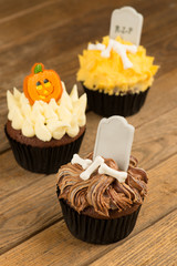 Three variation of Halloween cupcakes top view