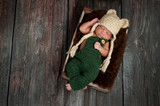 Newborn Baby Boy Wearing a Bear Hat