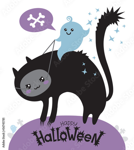 GHOST riding cat isolated