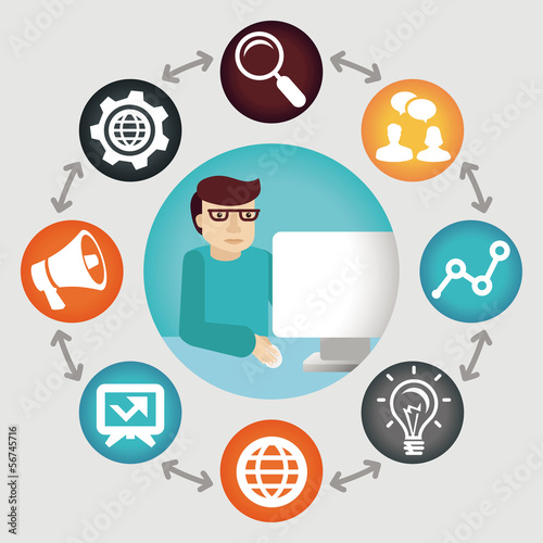 Vector social media concept - project manager