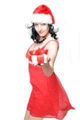 Weiblicher Santa Clause mit Geschenk