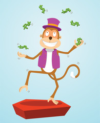 monkey juggling money