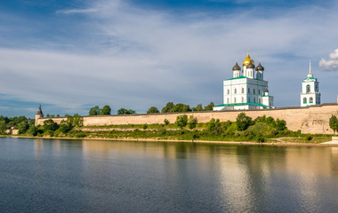 Pskov Kremlin (Krom) and the Trinity orthodox cathedral, Russia.