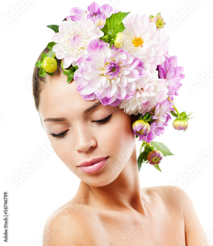 fashion model with   flowers in her hair.