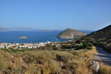 Greece,Tolo-view of the city Tolo and island Koronisi