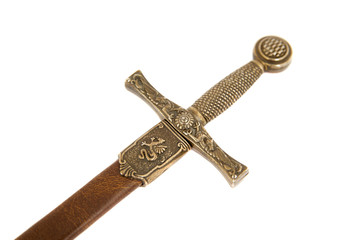 close up of sword with case, isolated