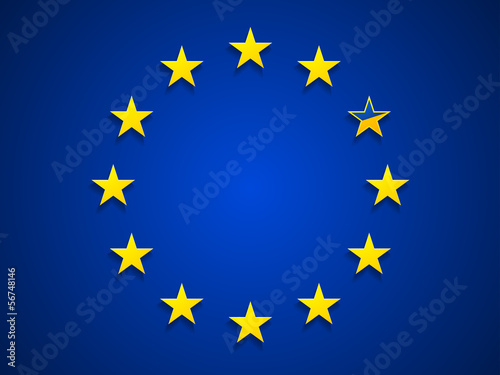 European Union with one star as Ukrainian flag