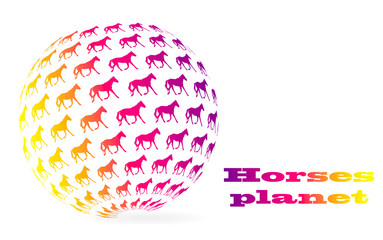 sphere planet with pattern of running horses logo illustration