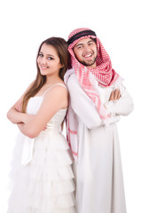 Arab man with his wife on white