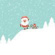 Santa Skiing Gift Pulling Sleigh Retro