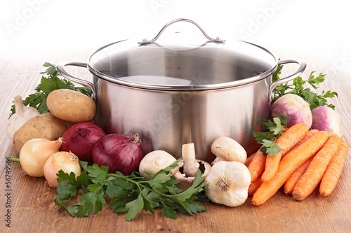 pot and vegetables