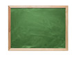 Blank green chalkboard isolated on white background