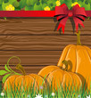 Pumpkins on the wooden background