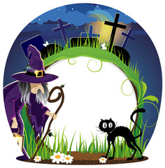 Witch and  cat on a  cemetery