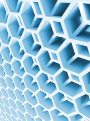 Abstract blue double honeycomb structure