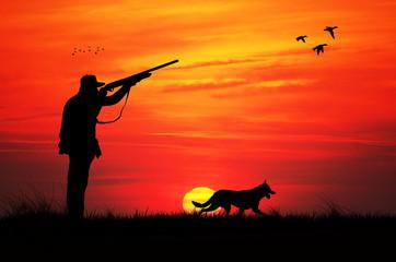 hunting at sunset