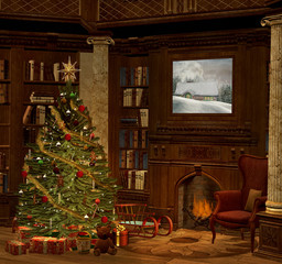 Christmas evening in an old room