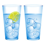 Glass with water ice cubes and lemon