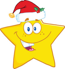 Smiling Star Cartoon Mascot Character With Santa Hat