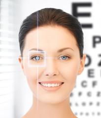 woman and eye chart