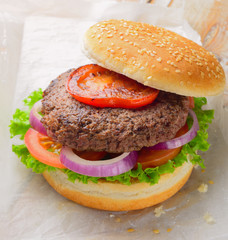 Burger with fried tomato