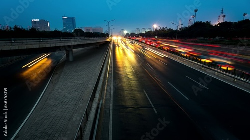 From day to night freeway traffic,Beijing,China