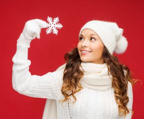 woman with big snowflake