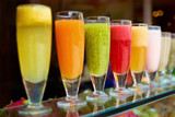 Glasses of fresh various juices
