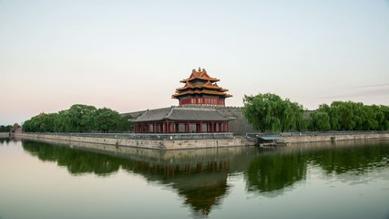 Twilight at turret of Forbidden City,Beijing,China