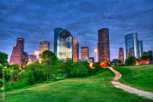 Plexiglas Texas Houston Texas modern skyline at sunset twilight from park