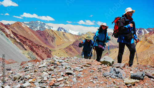 Leinwandbild Motiv Hikers on their way to Aconcagua Mountain