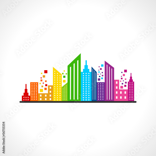 Illustration of abstract colorful building design