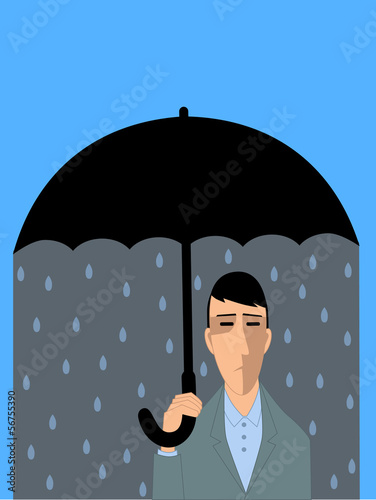 Depression. Man under umbrella