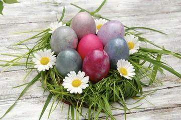 buntes Osternest mit Blüten