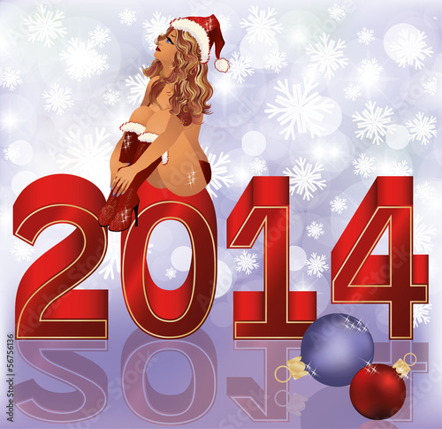 New  2014 Year and Santa girl , vector illustration