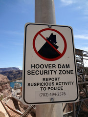 Hoover Dam Security Zone - Sign