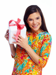 Happy Christmas girl with xmas gift.