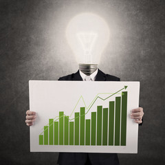 Businessman with lamp-head showing graph