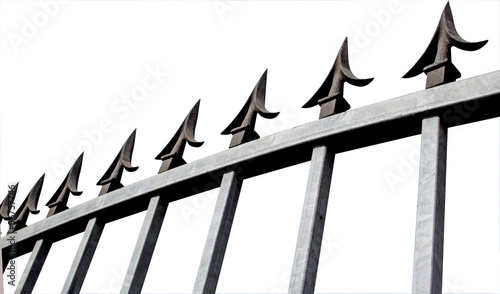 Isolated Angle view of Galvanised Security Gate and Decorative S
