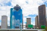Houston Texas Skyline with skyscapers and blue sky poster